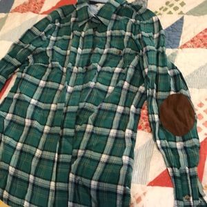 Green plaid button down with brown elbow sleeves